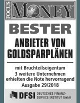 Focus Money Test Goldsparplananbieter 2018 - SOLIT Gruppe - Bester Anbieter von Goldsparplänen