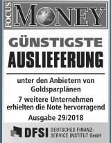 Focus Money Test Goldsparplananbieter 2018 - SOLIT Gruppe - Günstigste Auslieferung