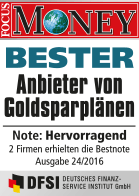 Focus Money Goldsparplan Test - Siegel SOLIT - Menübild