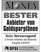 Focus Money Goldsparplan Test - Siegel SOLIT 2016