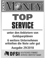 Focus Money Test Goldsparplananbieter 2018 - SOLIT Gruppe - Top Service