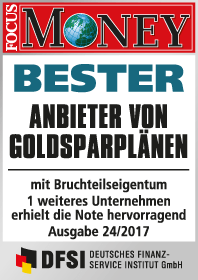 Focus Money Test Goldsparplananbieter 2017 - SOLIT Gruppe - Bester Anbieter von Goldsparplänen