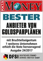 Focus Money Goldsparplan Test - Siegel SOLIT