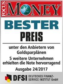 Focus Money Test Goldsparplananbieter 2017 - SOLIT Gruppe - Bester Preis