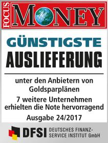 Focus Money Test Goldsparplananbieter 2017 - SOLIT Gruppe - Beste Auslieferung