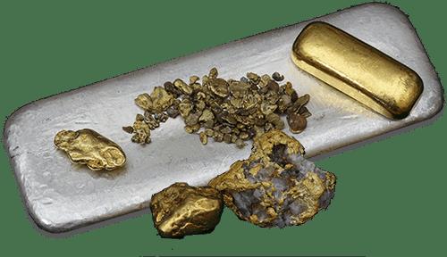 Freigestellte Goldstücke und Silberstücke