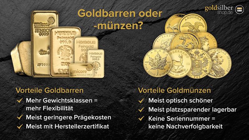Goldbarren oder Goldmünzen